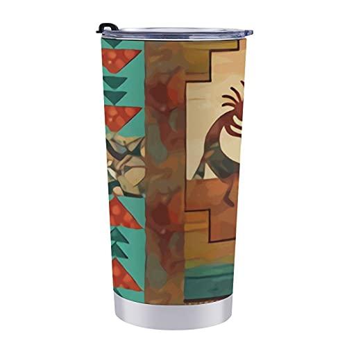 NiYoung Stainless Steel Travel Tumbler Cup - 600ml, Southwest Kokopelli Native American Happy Dance Leak Free Coffee Travel Mug, Safe Double Wall Vacuum Insulated Wine Tumbler Leak Free Thermal Mug