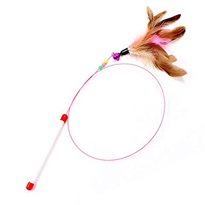 SLSON Feather Teaser Cat Toy, Interactive Cat Catcher and Exerciser Wand for Cats and Kitten Playing, with Feather, Bell and Flexible Wire