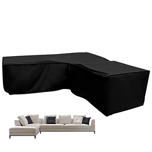 Copridivano angolare impermeabile antipolvere durevole protezione solare a forma di L, copertura di protezione esterna nera per divano angolo mobili da giardino
