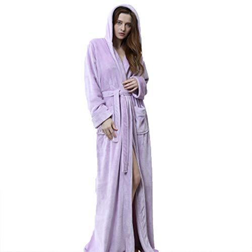 Albornoz largo con capucha para mujer, de franela de forro polar, cálido, para invierno, camisón para mujer, pijama B, XL