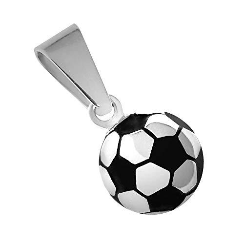 tumundo® Ketten-Anhänger Fußball Ball EM WM Fanartikel Sport Football Edelstahl Für Hals-Kette Panzerkette Königskette, Variante:silbern