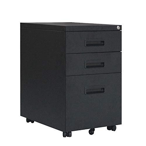 SogesHome Stahl Rollcontainer mit 3 Schubladen Abschließbarer Büroschrank, Schrankkorpus Vormontiert, NSD-ZHCBN002-B