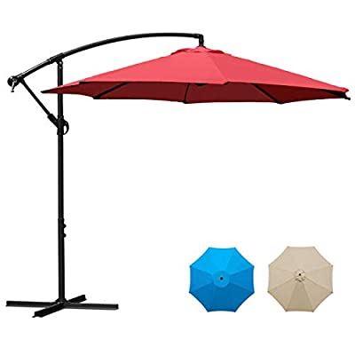 Sunnyglade 10Ft Outdoor Adjustable Offset Cantilever Hanging Patio Umbrella (Red)