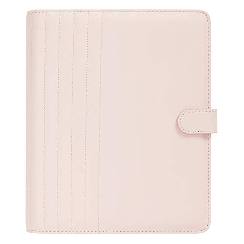 "kikki.K Self Designer Collection - A5 Quilted Personal Planner Blush, Includes Elastic Pen Loop, Snap Closure, 6 Ring Metal Binder, 1 Notepad, 1 Zip Pocket, Vegan, Measures 9.45""L x 8.07""W x 1.57""H"