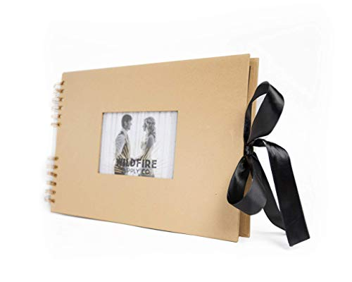 """Luxurious Scrapbook Photo Album with Wrinkle-Free Ribbon Closure - Elegant Scrapbooking Memory Album with 4"""" x 6"""" Front Cover Insert - DIY Wedding, Anniversary, Guest, Family, Baby Scrap Book Journal"""