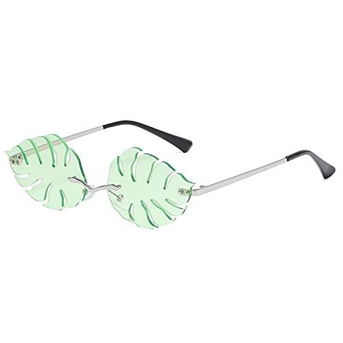 AMFG Personalidad Fashion Leaf Gafas de sol Tendencia Damas Metal Gafas de sol Hombres Gafas (Color : C)