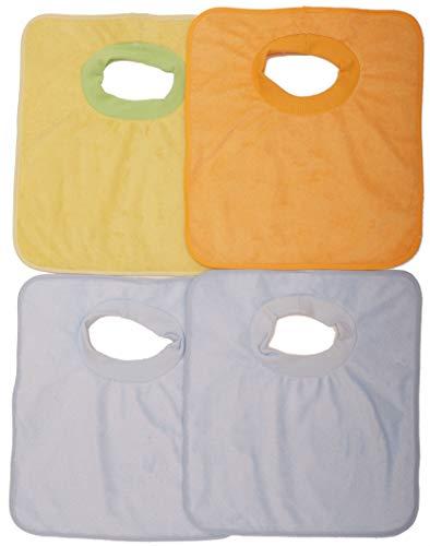 Ti TIN - Pack de 4 Baberos Impermeables con Cuello de Camiseta Niño 100% Poliéster Microfibra y Forro de Vinilo   Para Bebés de 6 a 18 Meses