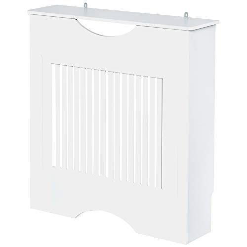 HOMCOM Painted MDF Radiator Cover Heater Cabinet Modern Slatted Home Furniture Lving Room Bedroom Worktop White 82H x 78W x 19D
