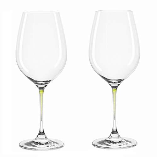 Leonardo Weingläser La Perla, grün, 2-er Set, 415 ml, farbig-gezogener Stiel, spülmaschinenfest, Teqton-Glas, 018967