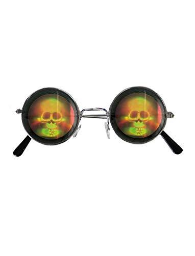 erdbeerclown - Kostüm Accessoires Zubehör Runde Brille mit holographischen Totenkopf, Glasses with Hologramm Skull, perfekt für Halloween Karneval und Fasching, Schwarz