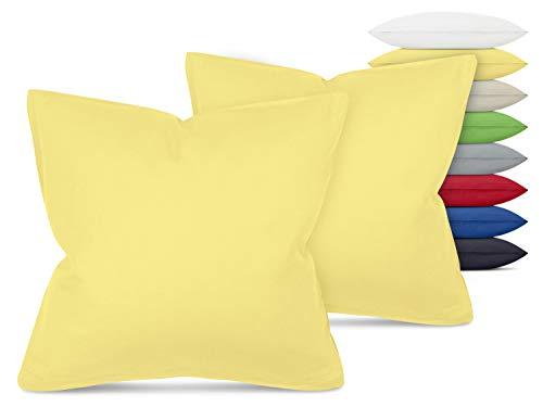 Unifarbene Kissenbezüge im Doppelpack - in 8 Farben und 3 Größen - Moderne Wohndekoration in dezentem Design, ca. 40 x 40 cm, gelb