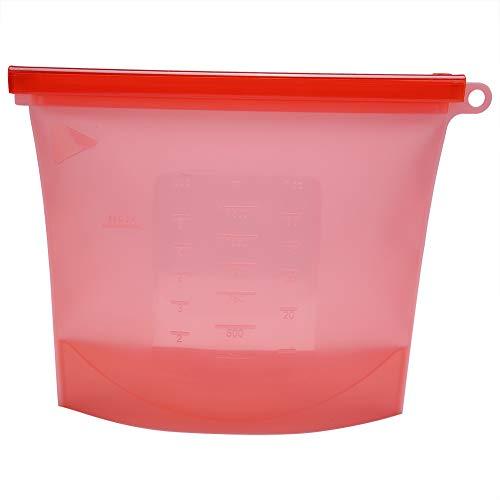 Opbergtas gemaakt van siliconen, 1000 ml herbruikbare afdichting opslag, niet-giftige en geurloze container koelkast fruit vlees melk opbergzak (rood)