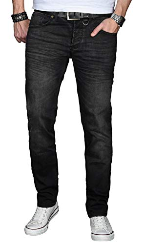 A. Salvarini Designer Herren Jeans Hose Basic Stretch Jeanshose Regular Slim [AS027 - Schwarz - Washed - W32 L32]