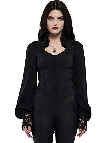 Punk Rave Damen Gothic Black Court Bluse Vintage viktorianischen hohlen Spitze Manschette Langarm Shirt M