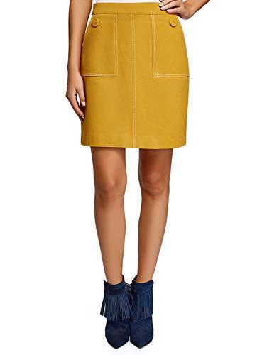 oodji Ultra Mujer Falda de Silueta en A con Bolsillos de Parche, Amarillo, ES 38 / S