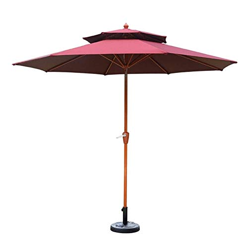 NMDD Parasols 9' Round Double Top Outdoor Patio Sun Umbrella, Perfect For Outdoor Yard, Beach Commercial Event Market, Camping, Pool Side (Color : Wine red)