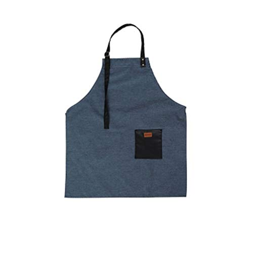 XHCP Apron Apron Made of Cotton and Fresh Linen, Apron Denim Patch and Cooking Oil and Oven, Work Style of Home, Apron Blue and Gray at Home (Color: Blue)