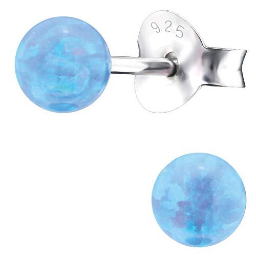 EYS JEWELRY Pendientes para señora bola ball perla 4 x 4 mm Ópalo plata de ley 925 azul-claro con la caja Pendientes mujer