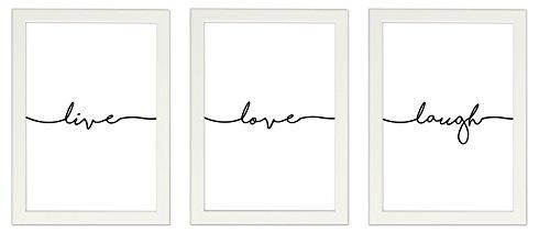 PICSonPAPER Poster 3er-Set live, Love, Laugh, Weiss gerahmt DIN A4, Dekoration, Kunstdruck, Wandbild, Typographie, Geschenk (Mit IKEA Fiskbo Weiss Rahmen)