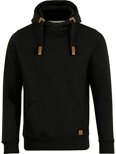 riverso Herren Kapuzenpullover RIVNiklas Pullover Sweatshirt Hoodie Kapuze Kängurutaschen Cross-Over-Kragen Regular Einfarbig Baumwolle Schwarz 5XL (5XL, Black (BJD))