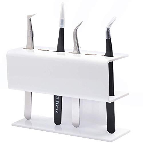 Pinzette Halter Halterung Make-Up Zubehör für Wimpernverlängerung -6 Löcher - Weiß -Acrylmaterial Tweezer Holder von GEMERRY (weiß)