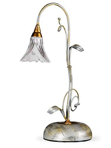 Helios Leuchten 413415 Florentiner Tischleuchte Tischlampe antik-silber | florale Lampe Leuchte | Schreibtischlampe Nachttischlampe Landhausstil | echtes Bleikristall
