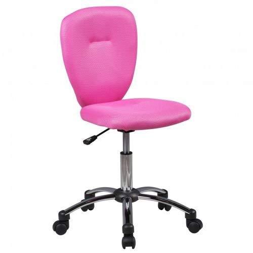 Amstyle Anna Chaise de Bureau pour Enfant en Tissu Rose 40 x 83 x 40 cm