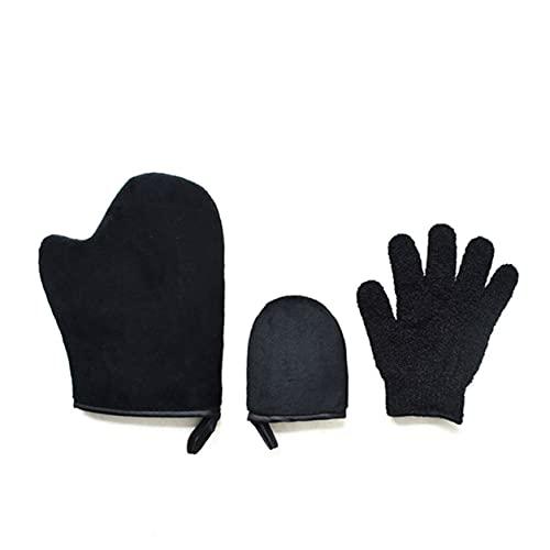 DDyna 3Pcs Scrub Mitt Magic Peeling Glove Exfoliante Guante de eliminaci¨®n de Bronceado Autobronceador Crema de Limpieza Corporal Mousse Autobronceador Aplicador (B)
