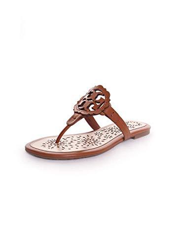 Tory Burch Miller Scallop Sandal, Leather, Ciabatta, Pelle, Marrone (38)