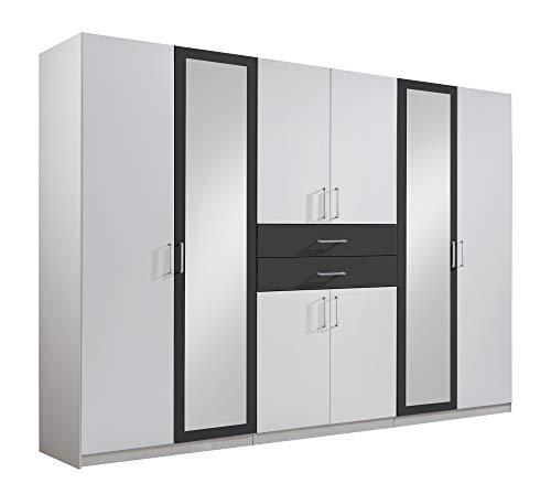 lifestyle4living Kleiderschrank mit Spiegel, Weiß, Graphit-Grau, 270 cm | Drehtürenschrank 8 türig mit 2 Schubladen im klassischen Stil