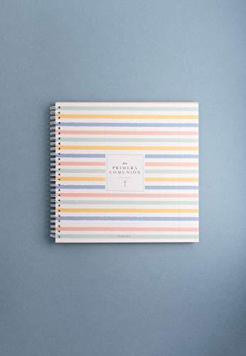"""""""Mi primera comunión"""" LeBlue. Libro de firmas comunión para niño y niña. Álbum de recuerdos. 23x23cm, 40 páginas, 5 secciones. Papel Reciclado."""
