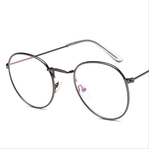 8bayfa Zonnebril Zonnebril Met Metalen Spiegel Voor Vrouwen Vlakke Ronde Zonnebril Ontwerp Zonnebril Geweer Grijs