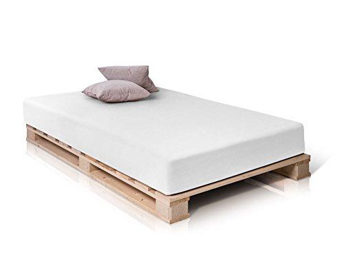 PALETTI Palettenbett Massivholzbett Holzbett Bett aus Paletten mit 11 Leisten, Palettenmöbel, 90 x 200 cm, Fichte Natur