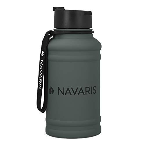 Navaris 1,3 Liter Fitness Trinkflasche - Flasche Gym Bottle - Sport Wasserflasche Water Jug - stabile Sportflasche aus Edelstahl - BPA frei