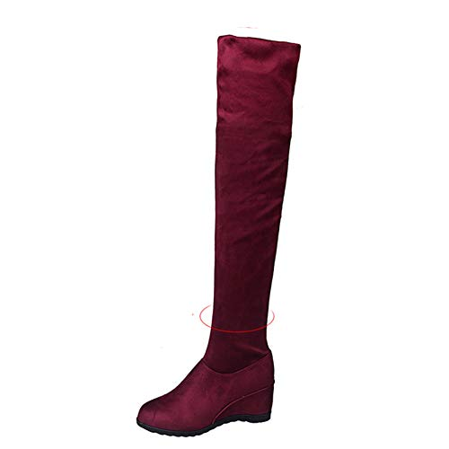 XIGUAUK Damen Overknee-Stiefel Verschleißfeste versteckte Ferse Bequeme Flock-Ferse runde Zehen Herbst Winter Lederstiefel