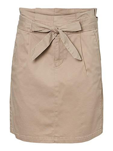 Vero Moda Vmeva HR Paperbag Cot Skirt Noos Ga Falda, Visón Plateado, XS para Mujer
