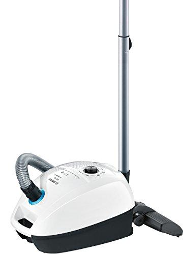 Bosch Hogar ProHygienic Aspirador con bolsa, 600 W, 4 litros, 77 Decibelios, Kunststoff, Blanco/azul metálico