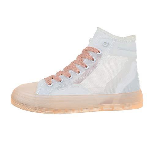 Ital-Design Damenschuhe Freizeitschuhe Sneakers high Synthetik Weiß Rosa Gr. 38