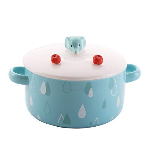 27oz Cute Elephant Ceramic Bowl with Lid and Handle, NOT POT, for Soup/Rice/Salad/Instant/Noodle/Vegetables Fruit (Elephant, 27oz/800ml)
