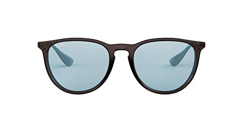Ray-Ban Women's RB4171F Erika Asian Fit Round Sunglasses, Grey/Light Blue Mirror, 54 mm