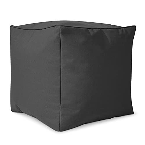 Green Bean © Cube Sitzsack Hocker 40x40x40 cm, Erweiterung für Cozy Gaming Beanbag, Sitzhocker, Fußhocker für Sitzsäcke, Fußkissen & Stütze, Fußablage für Kinder und Erwachsene - Anthrazit