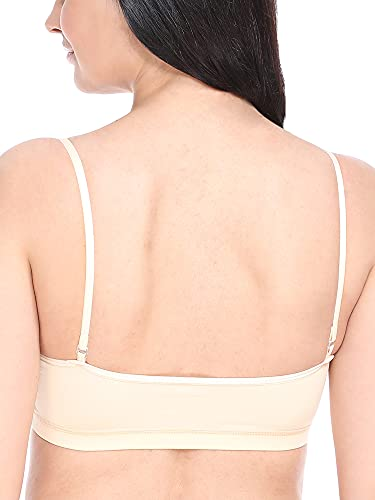 TRASA Padded Sports, Gym, Running Racer Non Wired Cotton Lycra Thin Strip Sports Bra for Women,Free Size (Size 28 to 36) - Beige