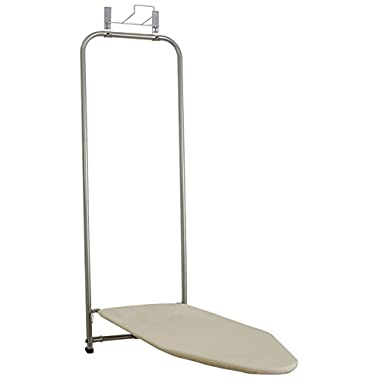 Household Essentials 144222 Over The Door Small Ironing Board With Iron Holder | Natural Cotton Cover