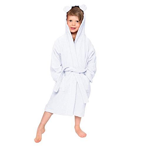 LEYUANA Bademantel für Jungen Mädchen, Pyjama Nachthemd Handtuch Flanell Kapuze Bademantel Nachthemd Kinder Nachtwäsche mit Gürtel 9 Weiß
