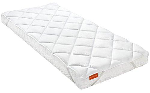 sleepling 192798 Komfort 100 Matratzenschoner Unterbett seidig weiche Matratzenauflage (100% Mikrofaser), 4 Eckgummis bis 30 cm Matratzenhöhe, Ökotex 100, 90 x 200 cm, weiß