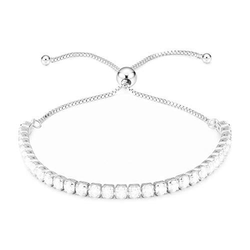 Cat Eye Jewels 925 Sterling Silver Bracelet Cubic Zirconia Bracelet CZ Adjustable Tennis Link Chain Bracelets for Women Girls Platinum Plated CZ-B001