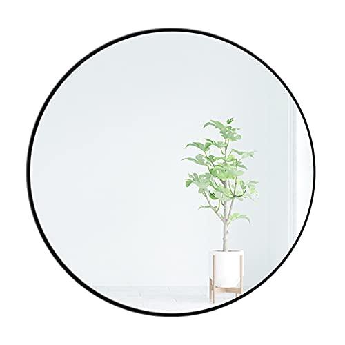 ZHANGHONG Espejo decorativo redondo de pared, marco de metal negro, diámetro 50/60/70 cm, tocador, espejo grande de maquillaje círculo para dormitorio y sala de estar, (color: 50 cm)