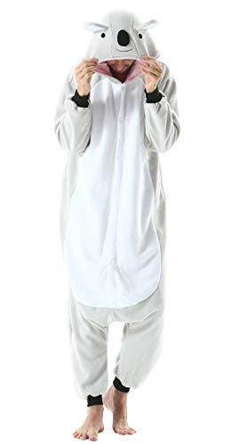 Jumpsuit Onesie Tier Karton Kigurumi Fasching Halloween Kostüm Lounge Sleepsuit Cosplay Overall Pyjama Schlafanzug Erwachsene Unisex Grau Koala for Höhe 140-187CM Damen Herren