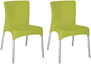 resol Set de 2 sillas de diseño Moon para Interior, Exterior, jardín - Color Verde Lima