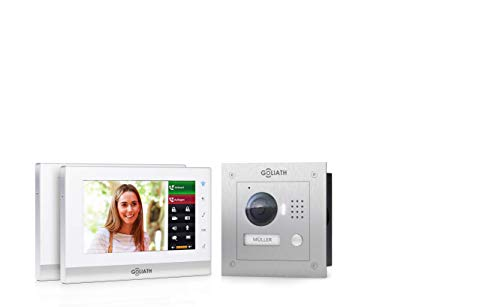 Goliath IP 2-draads video-intercomsysteem, 1,3 megapixel camera, 2 x 7 binnenstation, smartphone mobiele telefoon, intercominstallatie, video-intercominstallatie, inbouw buitenstation, eengezinswoning set